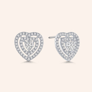 """Filled with Love"" 1.8ctw Pave Open Hearts Post Earrings"