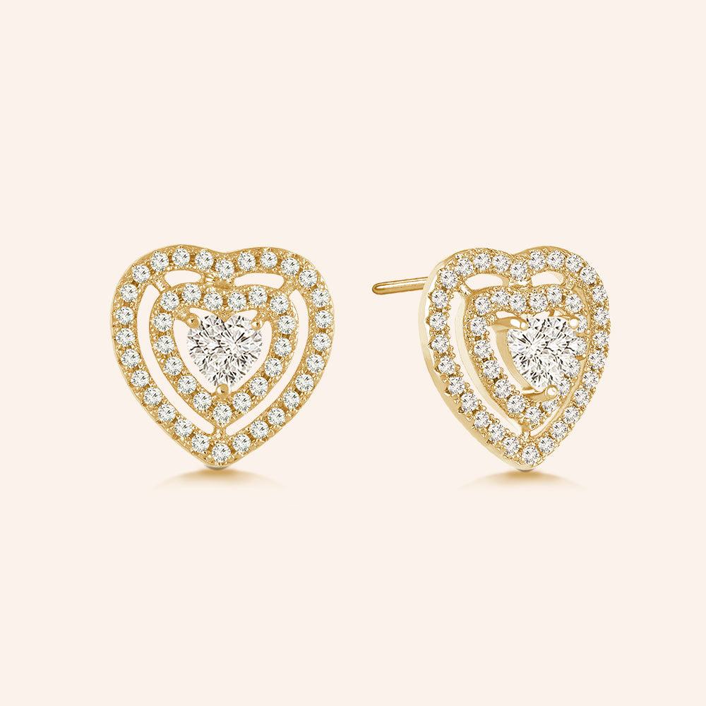 """Filled with Love"" 1.8ctw Pave Open Hearts Post Earrings - Gold tone"