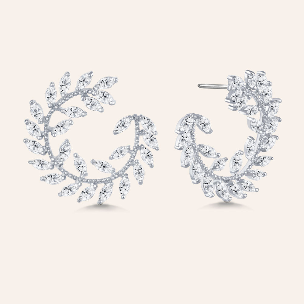 """Garden of Eden"" 6.9ctw  Prong -Set Marquise Leaf Design Circle Shape Earrings - Silver tone"
