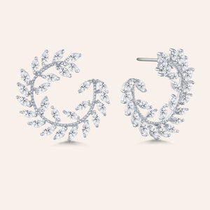 """Garden of Eden"" 6.9ctw  Prong -Set Marquise Leaf Design Circle Shape Earrings"