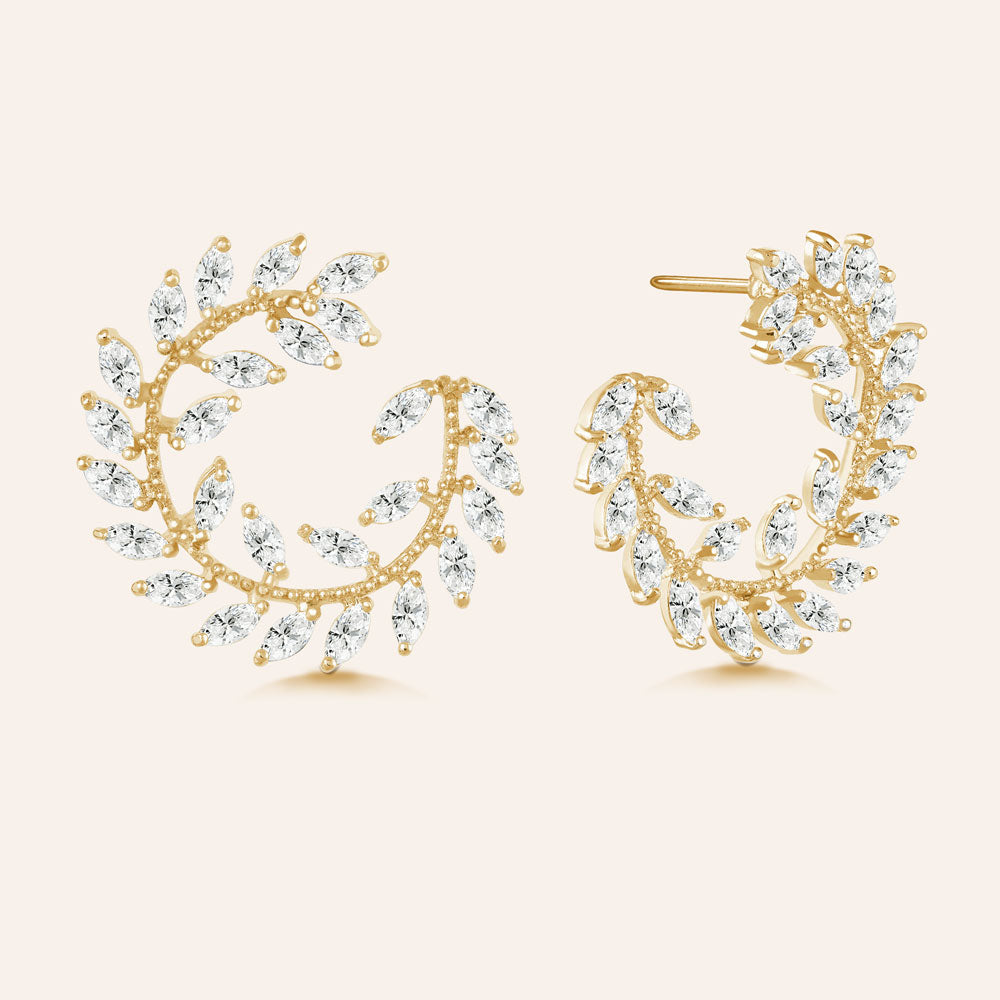 """Garden of Eden"" 6.9ctw  Prong -Set Marquise Leaf Design Circle Shape Earrings - Gold tone"