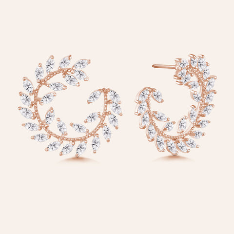 """Garden of Eden"" 6.9ctw  Prong -Set Marquise Leaf Design Circle Shape Earrings - Rose tone"