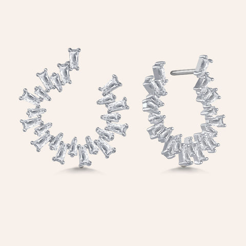 """Baguette Perfection"" 3.5ctw Prong-Set Baguette Circle Shape Earrings - Silver tone"