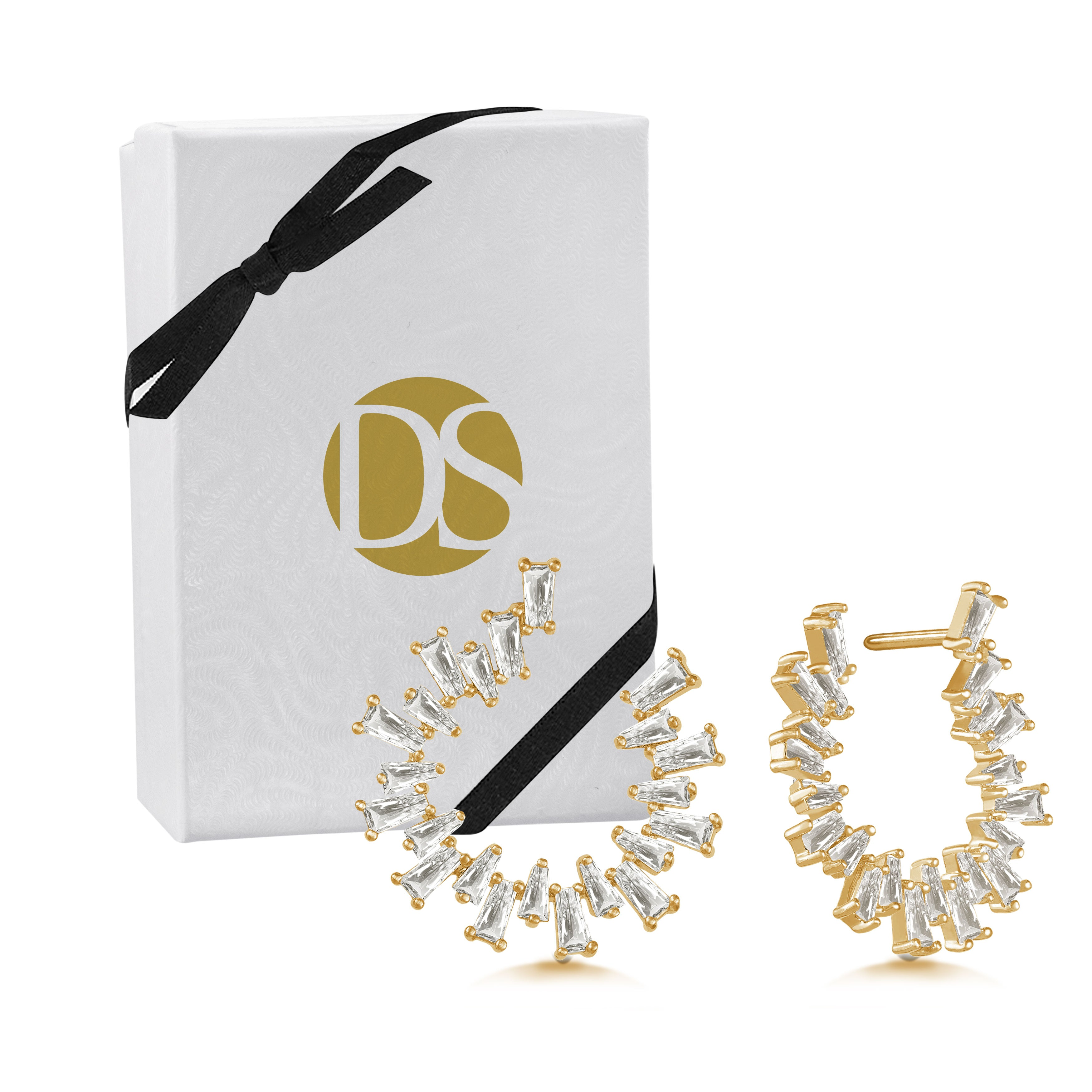 """Baguette Perfection"" 3.5ctw Prong-Set Baguette Circle Shape Earrings - Gold tone"