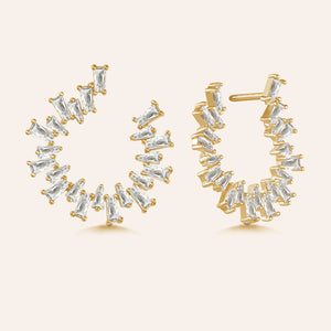 """Baguette Perfection"" 3.5ctw Prong-Set Baguette Circle Shape Earrings"