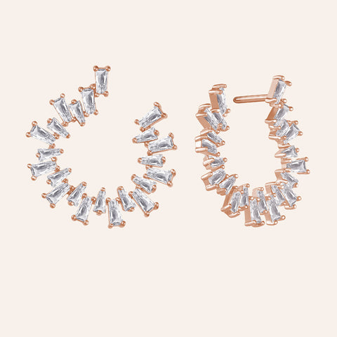 """Baguette Perfection"" 3.5ctw Prong-Set Baguette Circle Shape Earrings - Rose tone"