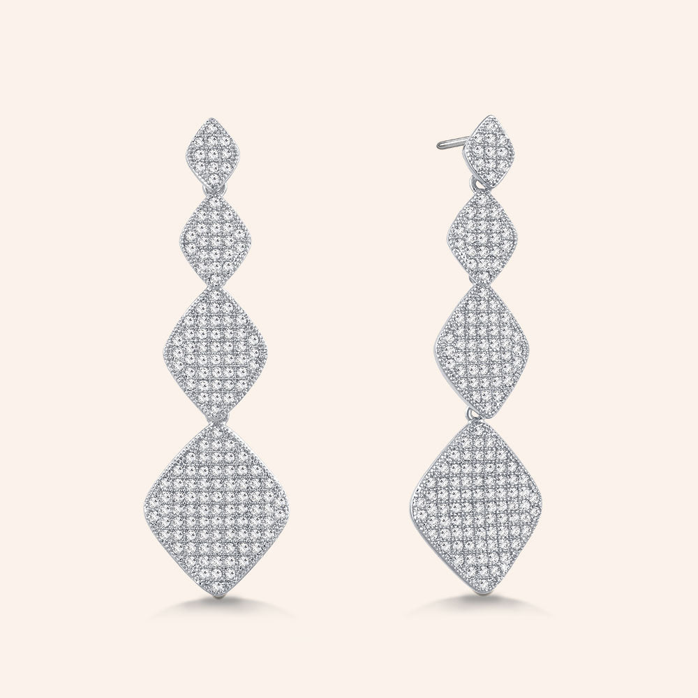 """Princess Glitz"" 3.2 ctw Micro-Pave Stations Drop Earrings - Silver tone"