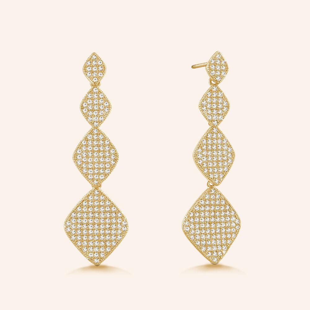 """Princess Glitz"" 3.2 ctw Micro-Pave Stations Drop Earrings - Gold tone"