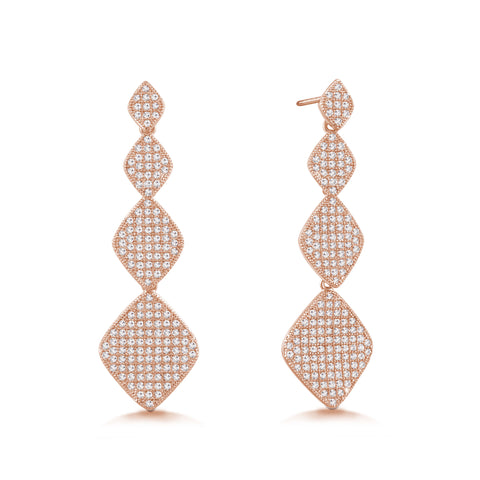 """Princess Glitz"" 3.2 ctw Micro-Pave Stations Drop Earrings - Rose tone"