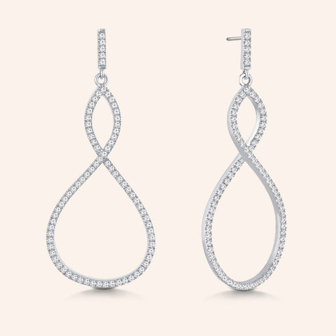 """Infinite Elegance"" 2.1ctw Pave Infinity Symbol Drop Earrings - Silver tone"