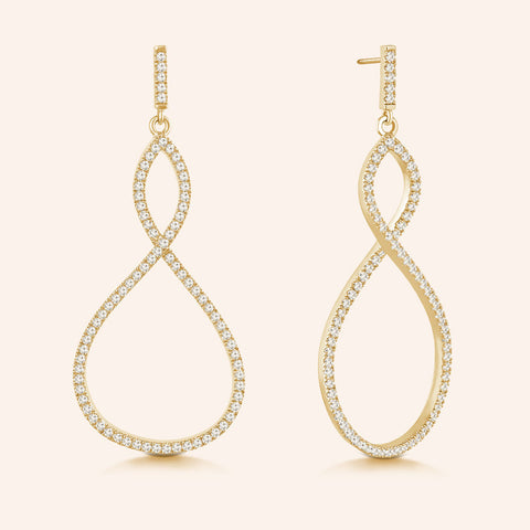 """Infinite Elegance"" 2.1ctw Pave Infinity Symbol Drop Earrings - Gold tone"