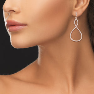 """Infinite Elegance"" 2.1ctw Pave Infinity Symbol Drop Earrings"