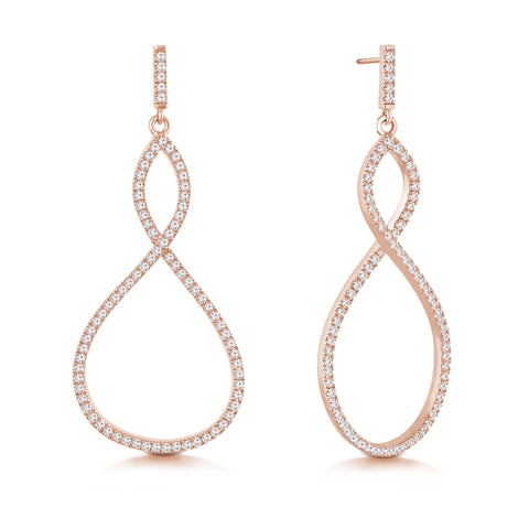 """Infinite Elegance"" 2.1ctw Pave Infinity Symbol Drop Earrings - Rose tone"