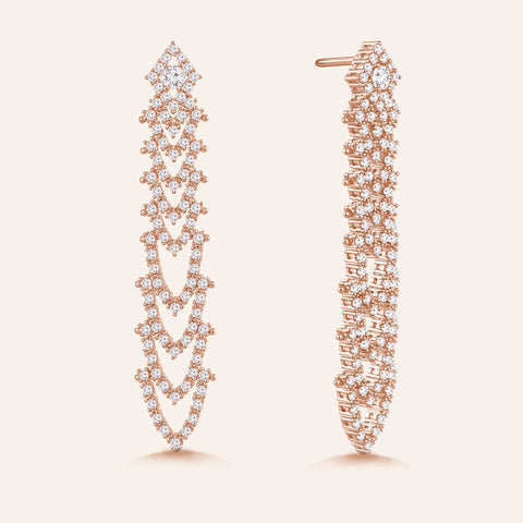 """Precious Diva"" 3.2ctw Pave  Stations Drop Earrings - Rose tone"