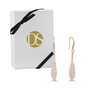 """Love Droplets""  3.0ctw Pave Dome Drop Hook Earrings"