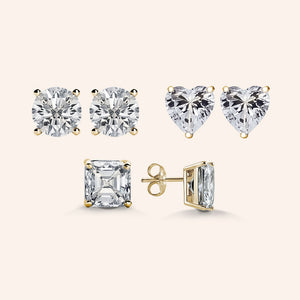 """Three Ways to Shine"" 3.0ctw Round, Heart and Princess Cut set of Sterling Silver Post Earrings"