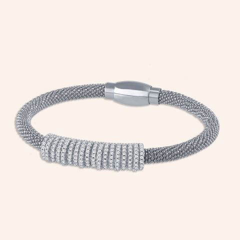 """Everlast Icon"" Micro-Pave Center Station Diamond Cut Mesh Magnetic Closure Bracelet - Silver Tone"