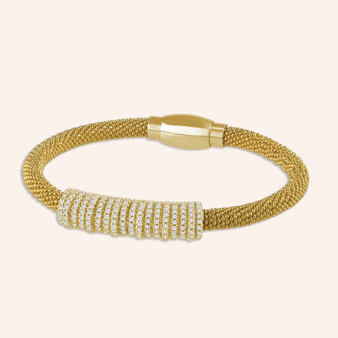 """Everlast Icon"" Micro-Pave Center Station Diamond Cut Mesh Magnetic Closure Bracelet - Gold Tone"