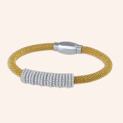 """Everlast Icon"" Micro-Pave Center Station Diamond Cut Mesh Magnetic Closure Bracelet - Two Tone / Silver and Gold"