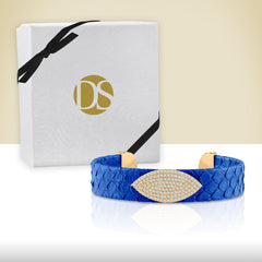 """Exotic Amulet""  Micro-Pave Genuine Leather Adjustable Cuff   - Gold Tone / Bluette"
