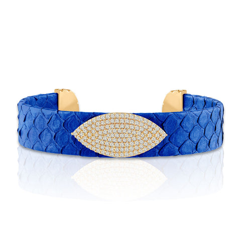 """Enchanting Armor"" Micro-Pave  Genuine Leather Adjustable Cuff- Gold Tone / Azure"