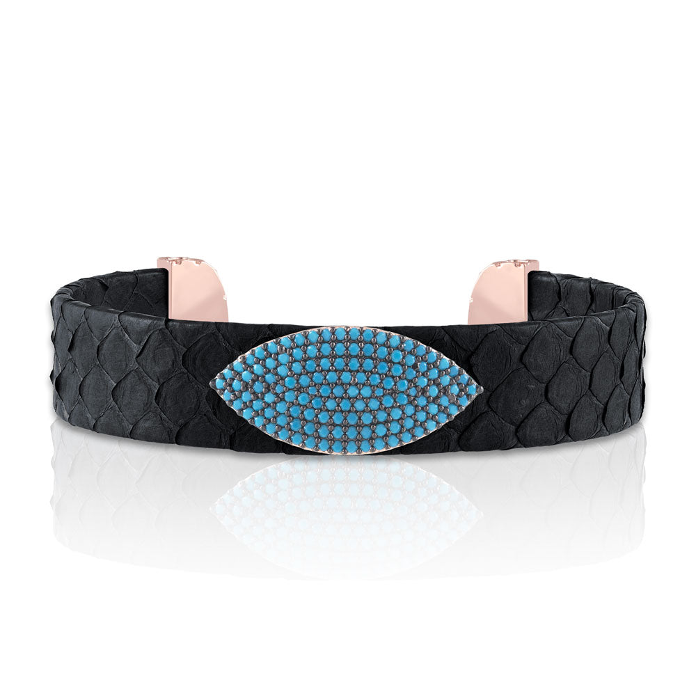 """Exotic Amulet""  Micro-Pave Genuine Leather Adjustable Cuff  - Rose Tone / Nero"