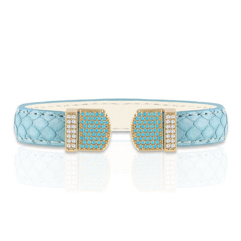 """Exotic Amulet""  Micro-Pave Genuine Leather Adjustable Cuff  - Rose Tone / Azure"