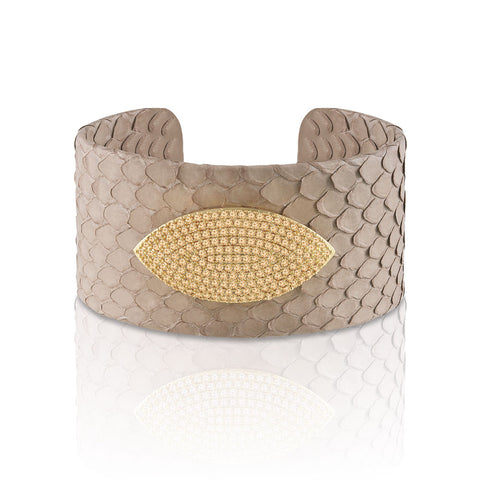 """Exotic Confidence"" Micro-Pave  Genuine Leather Adjustable Cuff - Gold Tone / Ecru"