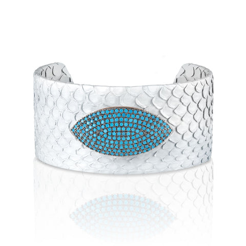 """Exotic Confidence"" Micro-Pave  Genuine Leather Adjustable Cuff- Rose Tone / Bianco"