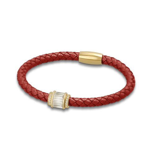 """Charming Baguette"" Woven Genuine Leather Bracelet - Gold tone / Red"