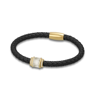 """Charming Baguette"" Woven Genuine Leather Bracelet"