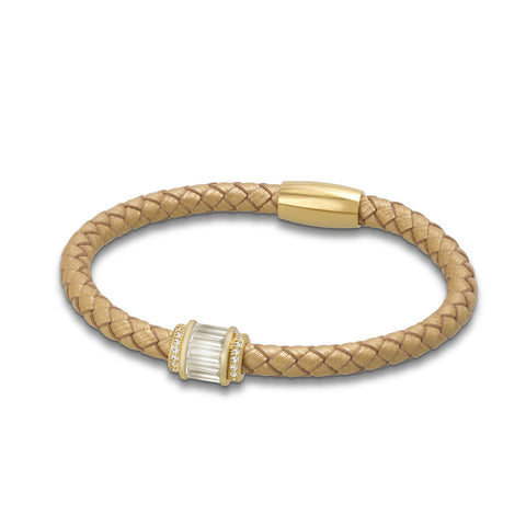 """Charming Baguette"" Woven Genuine Leather Bracelet - Gold - Gold"
