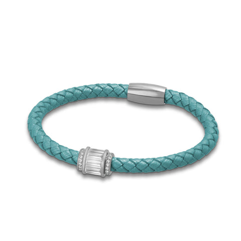 """Charming Baguette"" Woven Genuine Leather Bracelet - Silver tone / Turquoise"