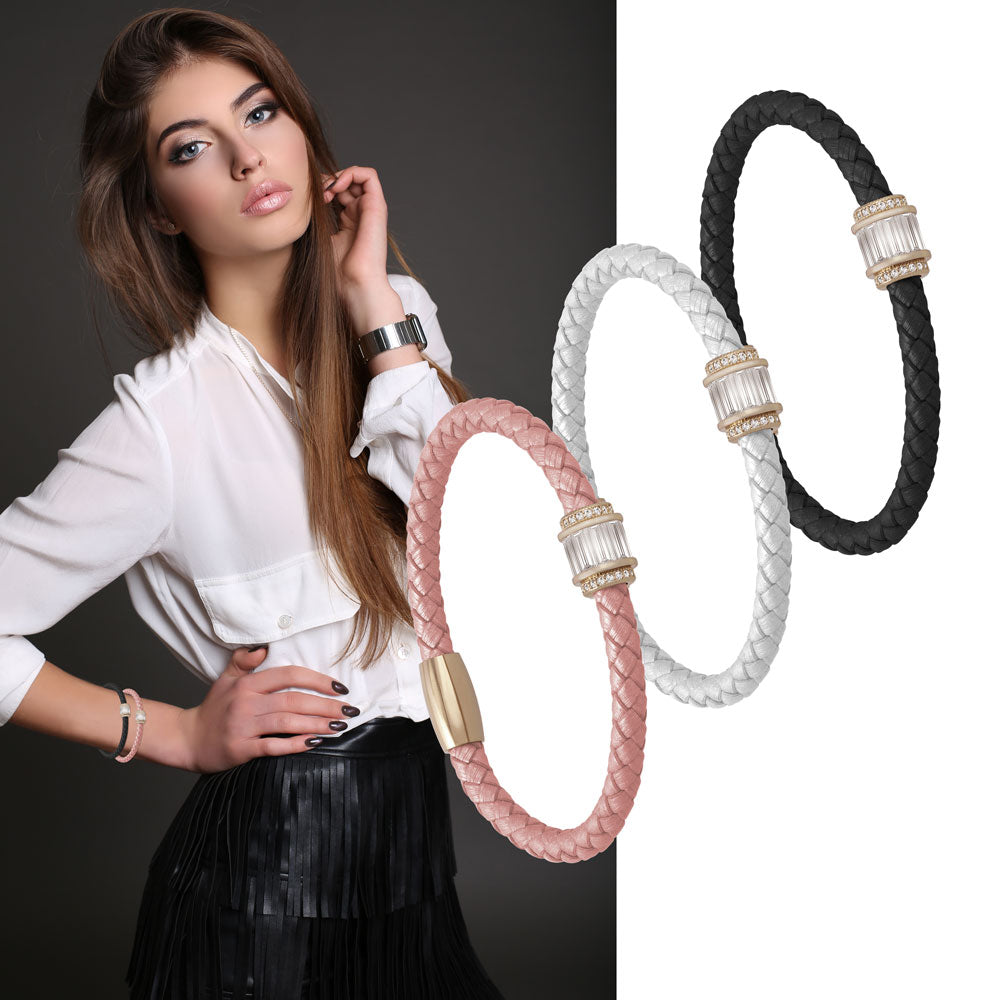 """Charming Baguette"" Woven Genuine Leather Bracelet - Rose Gold - WHITE"