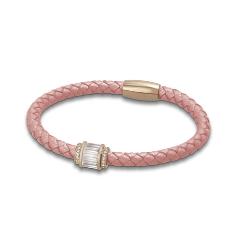 """Charming Baguette"" Woven Genuine Leather Bracelet - Rose tone / Light Pink"