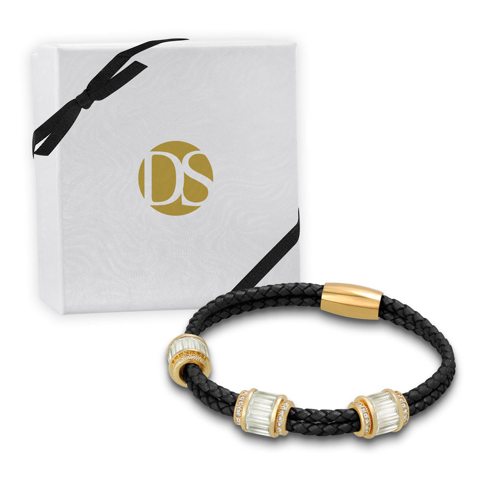 """Alluring Baguette"" 2 Row Woven Genuine Leather Bracelet - Gold -  Black"