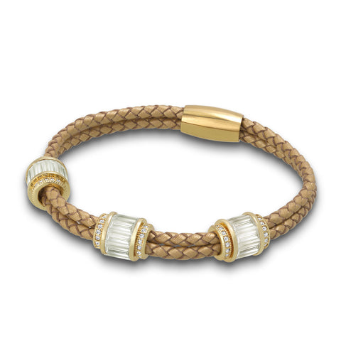 """Alluring Baguette"" 2 Row Woven Genuine Leather Bracelet - Gold tone / Gold"
