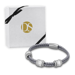 """Alluring Baguette"" 2 Row Woven Genuine Leather Bracelet - Silver - Gray"