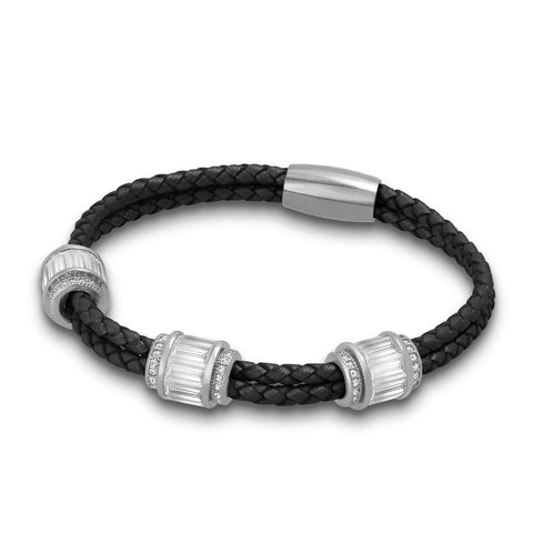 """Alluring Baguette"" 2 Row Woven Genuine Leather Bracelet - Silver -  Black"