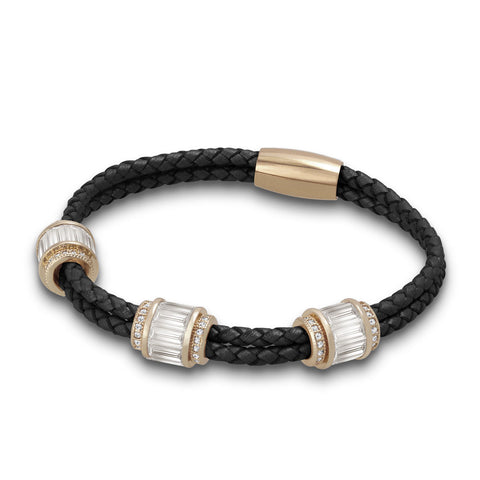 """Alluring Baguette"" 2 Row Woven Genuine Leather Bracelet - Rose Gold -  Black"