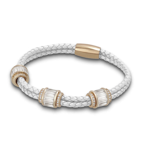 """Alluring Baguette"" 2 Row Woven Genuine Leather Bracelet - Rose Gold -  White"