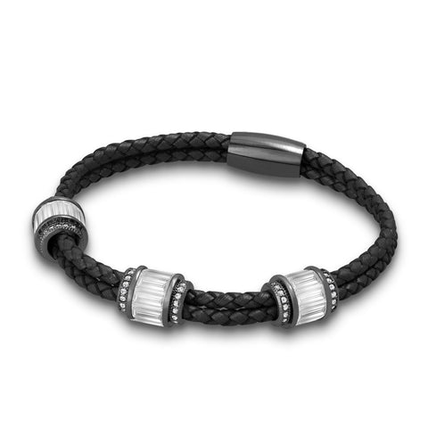 """Alluring Baguette"" 2 Row Woven Genuine Leather Bracelet - Hematite - Black"