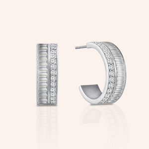 """Petite Baguette""  3.4ctw Hoop Earrings"