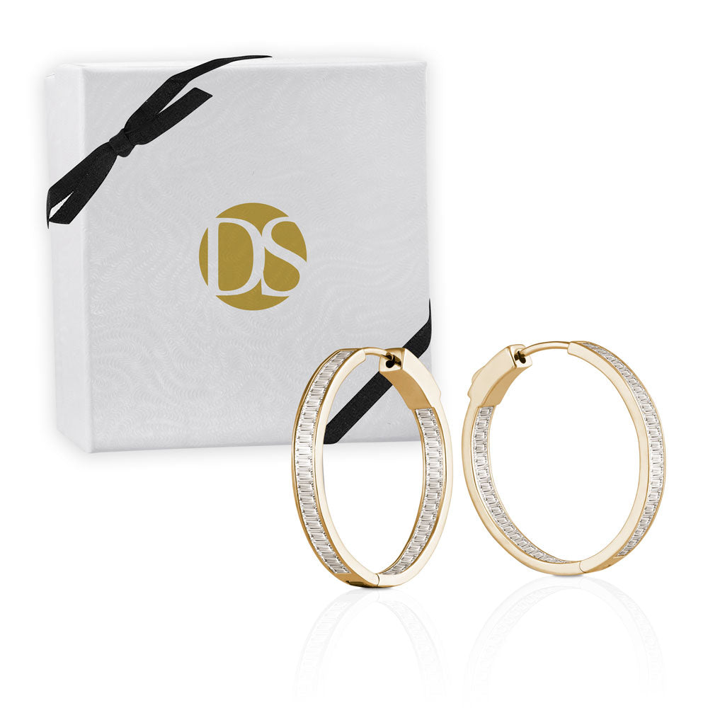 """Midi Baguette""  4.7ctw Inside-outside Hoop Earrings"