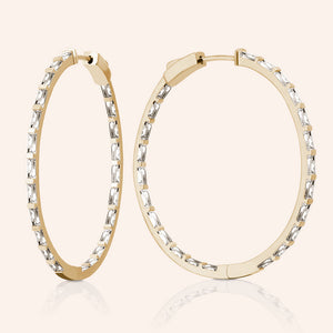 """Grand Baguette""  5.3ctw Inside-outside Hoop Earrings"