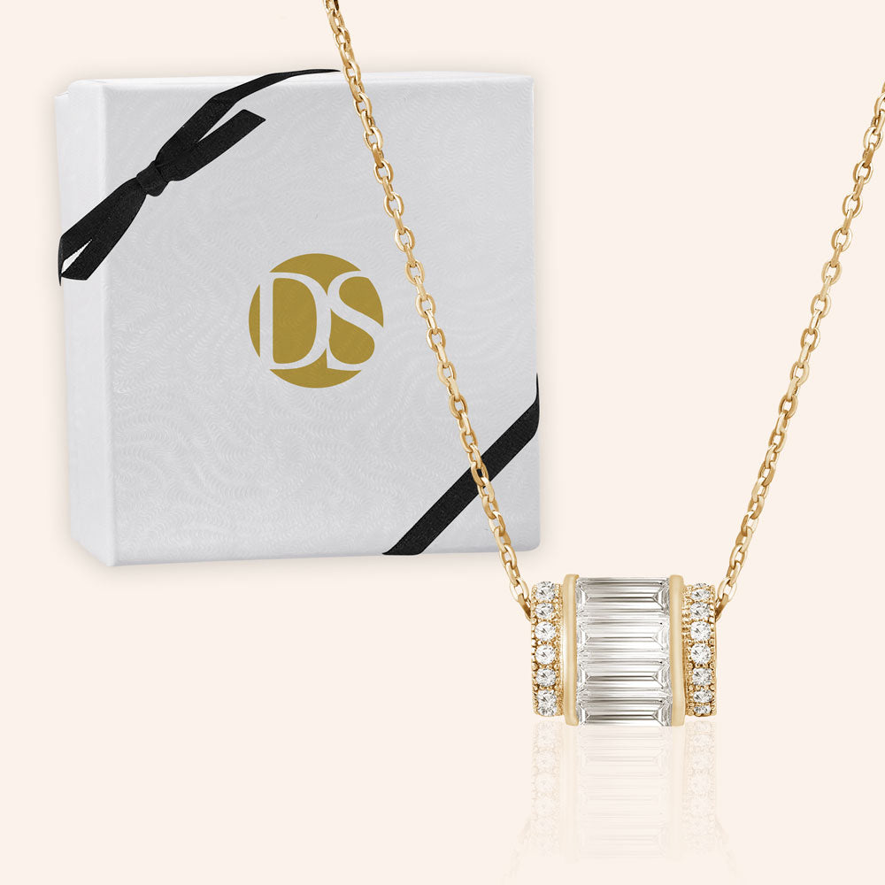 """Delicate Baguette"" 2.3ctw Barrel Micro-Pave Necklace"