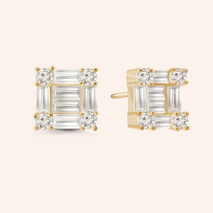 """Princess Grace"" 2.6CTW Baguette Stud Earrings .925 Sterling Silver"