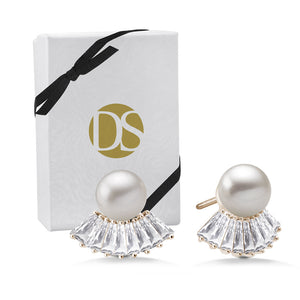 """Pearl Bloom"" 2.7CTW Baguette Stud Earrings"