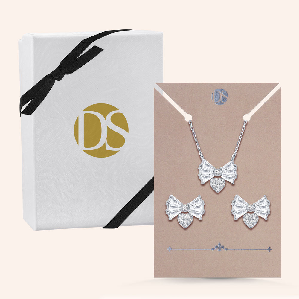 """Bow Down"" 2.9CTW Baguette Stud Earrings and Necklace Set"