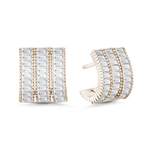 """Baguette Illusions"" 5.1CTW Baguette Three Row Earrings"
